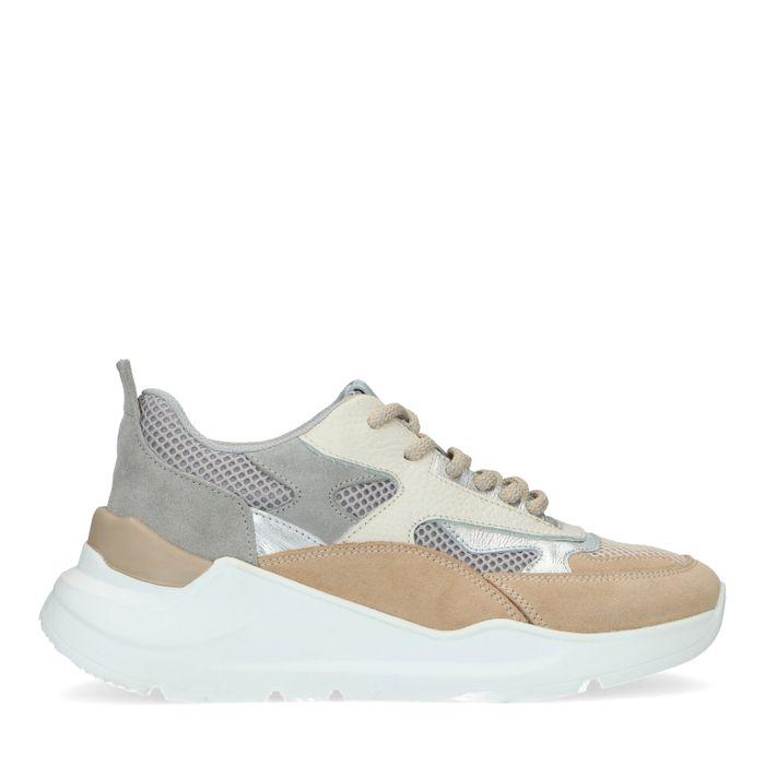 Beigefarbene Sneaker mit Metallic-Details