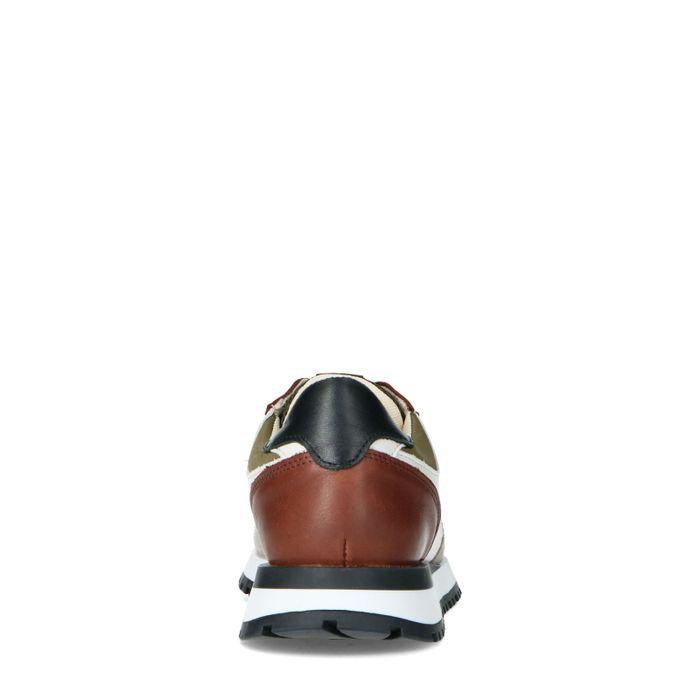 Beigefarbene Veloursleder-Sneaker mit braunen Details