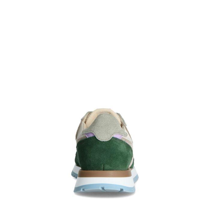 Beigefarbene Veloursleder-Sneaker mit grünen Details