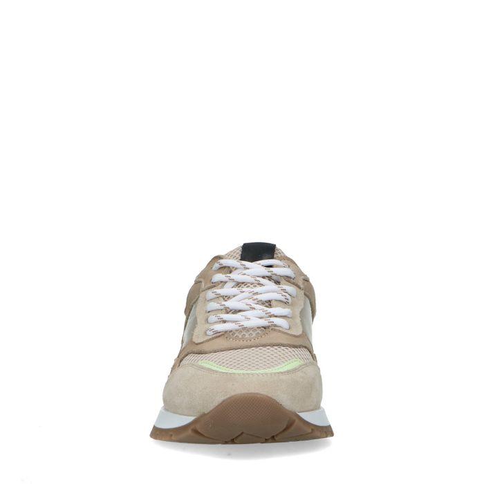 Beigefarbene Retro-Sneaker aus Veloursleder