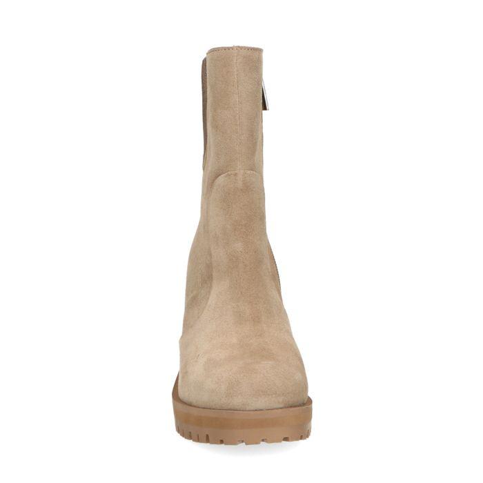 Beigefarbene Stiefeletten mit Blockabsatz