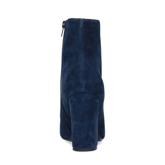 Blaue Veloursleder-Stiefeletten mit Absatz