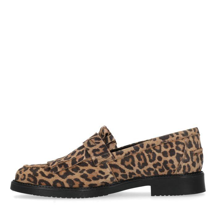 Braune Loafer mit Leopardenmuster und Fransen
