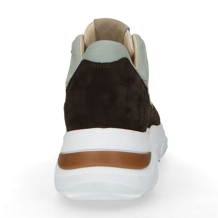 Dunkelbraune Dad-Sneaker mit blauen Details