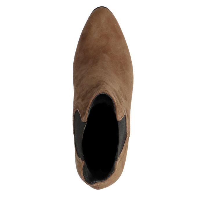Braune Chelsea Boots aus Leder mit Absatz