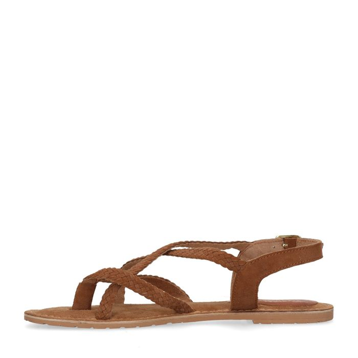 Cognacfarbene Sandalen mit geflochtenen Riemchen