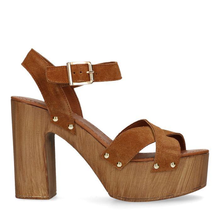 Braune Veloursleder-Sandaletten