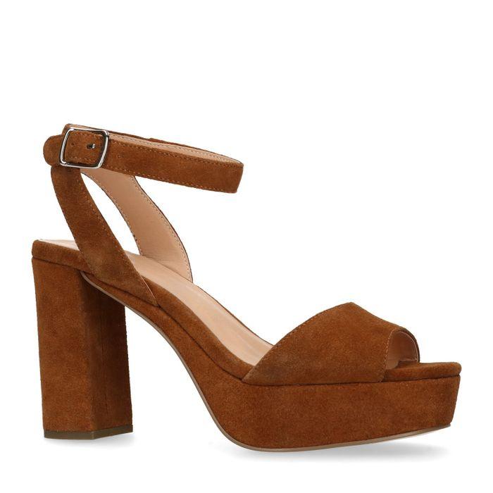 Cognacfarbene Sandaletten mit Blockabsatz
