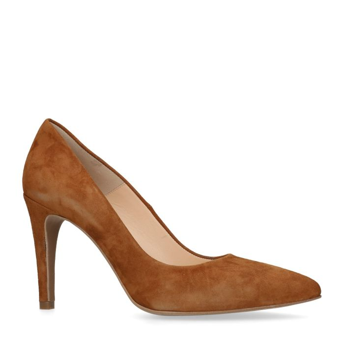 Braune Veloursleder-Pumps