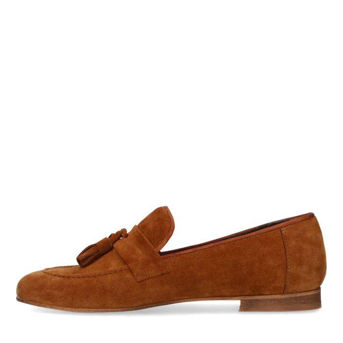 Cognacfarbene Veloursleder-Loafer