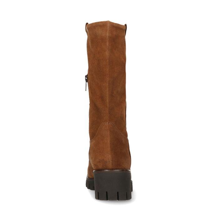 Kurze cognacfarbene Stiefel aus Veloursleder