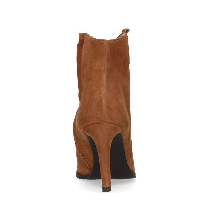 Cognacfarbene Veloursleder-Stiefeletten mit Pfennigabsatz