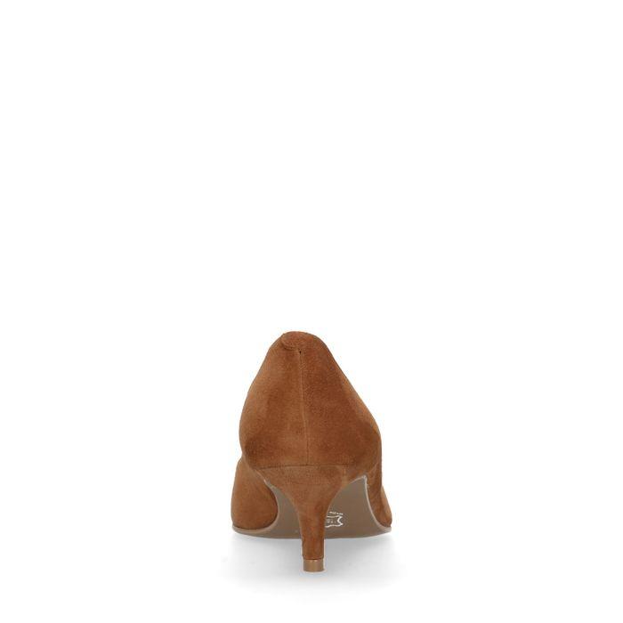 Cognacfarbene Veloursleder-Pumps mit Kitten Heel