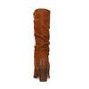 Cognacfarbene Raffstiefel aus Veloursleder