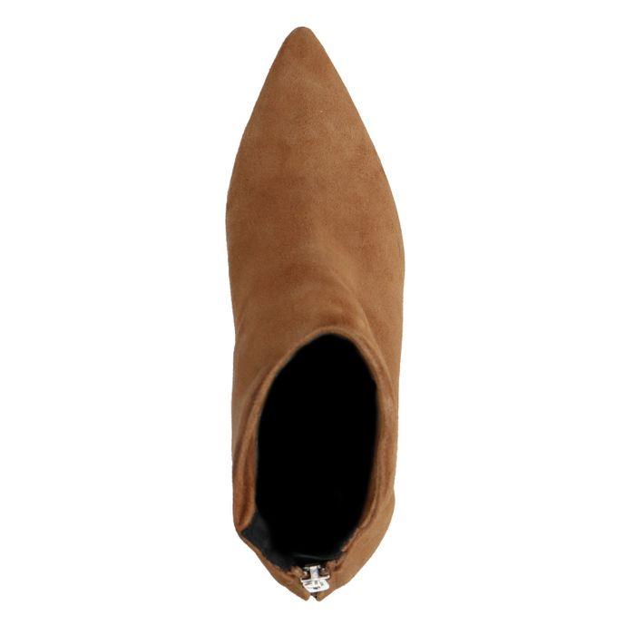 Cognacfarbene Veloursleder-Stiefeletten mit Kitten Heel
