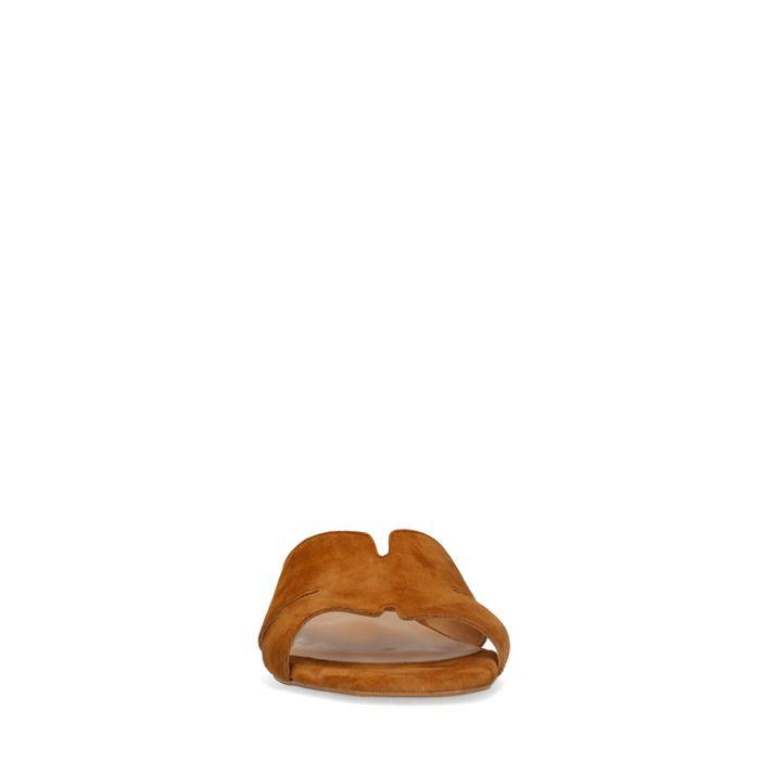 Cognacfarbene Veloursleder-Sandalen