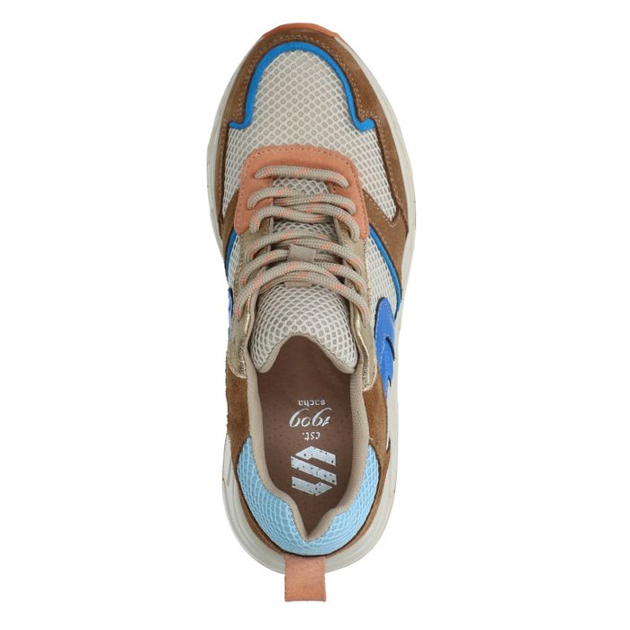 Cognacfarbene Veloursleder-Sneaker mit farbigen Details