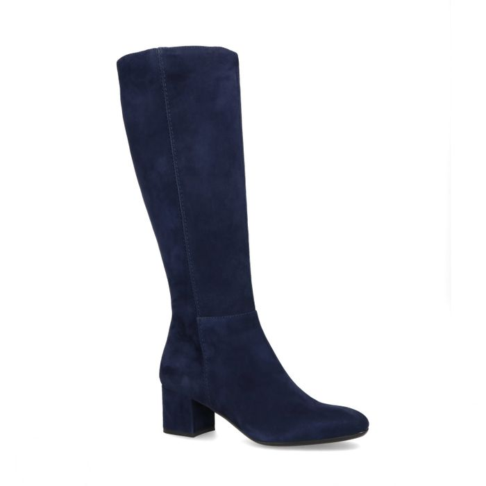 Hohe dunkelblaue Stiefel aus Veloursleder