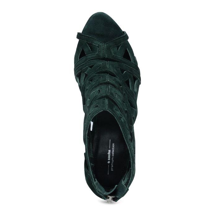 Offene veloursleder-Pumps dunkelgrün