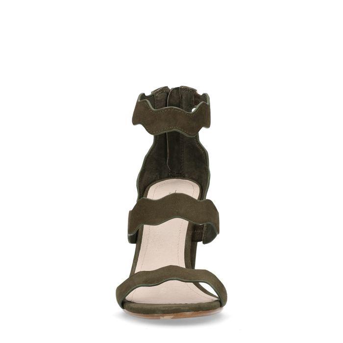 Dunkelgrüne Sandalen mit Blockabsatz