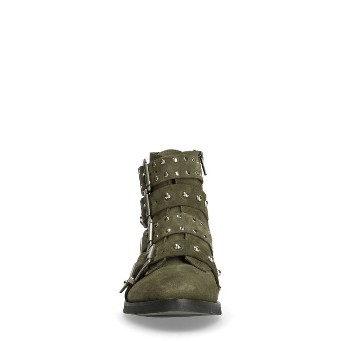 Dunkelgrüne Buckle Boots