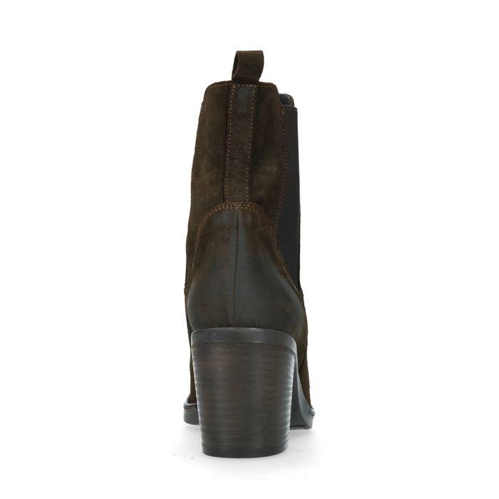 Dunkelgrüne Chelsea Boots aus Veloursleder