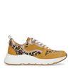 Ockergelbe Dad-Sneaker mit Leopardenmuster
