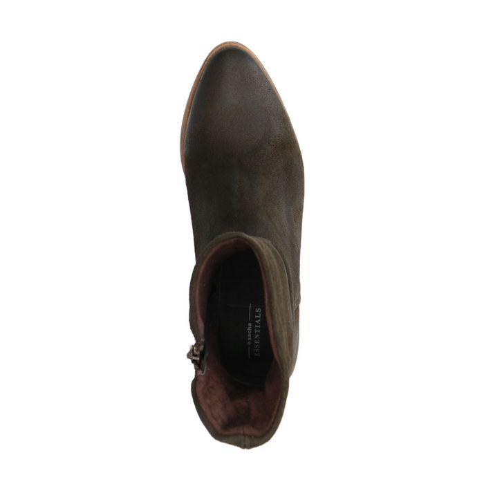 Dunkelgrüne Veloursleder-Stiefeletten