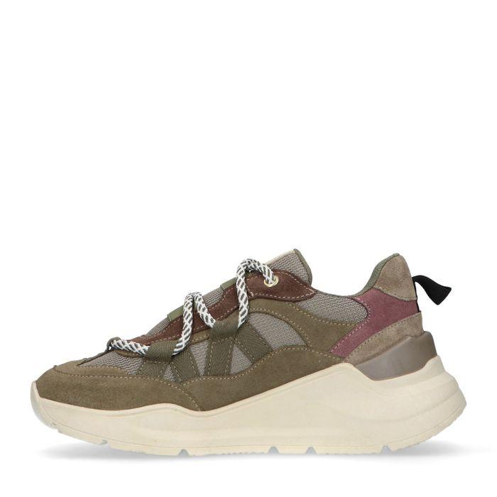 Kaki Sneaker mit weißer Sohle