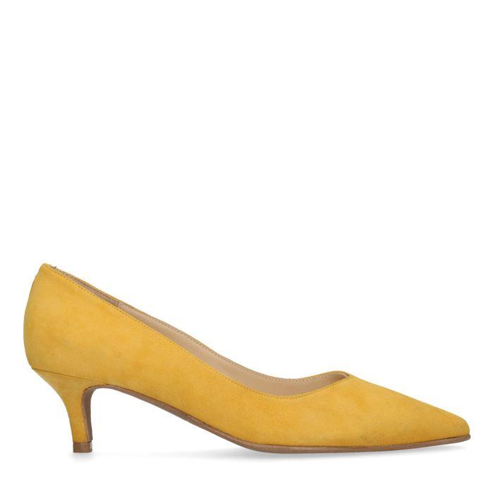 Gelbe Pumps mit Kitten Heel