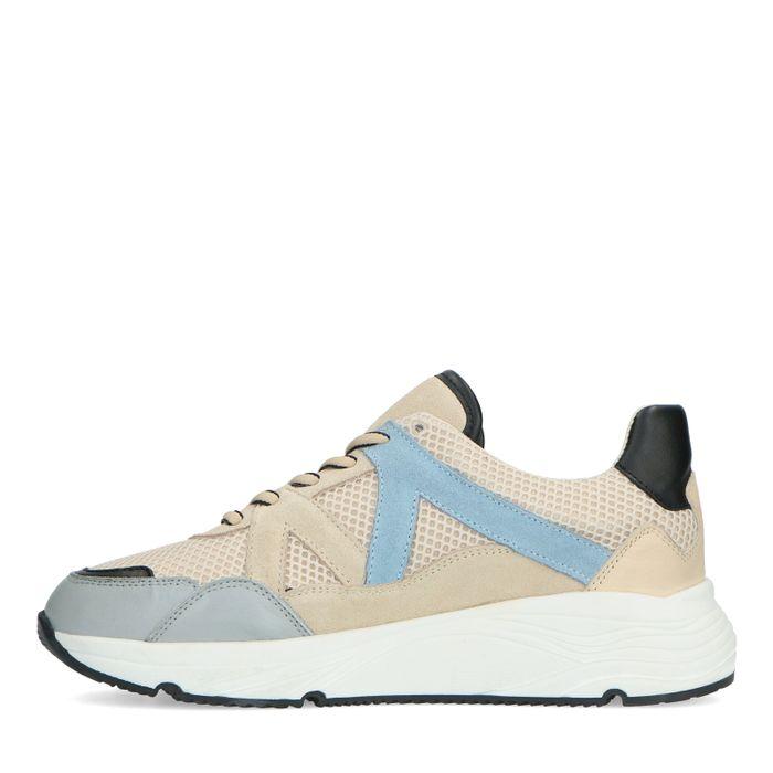 Beigefarbene Sneaker mit blauen Details