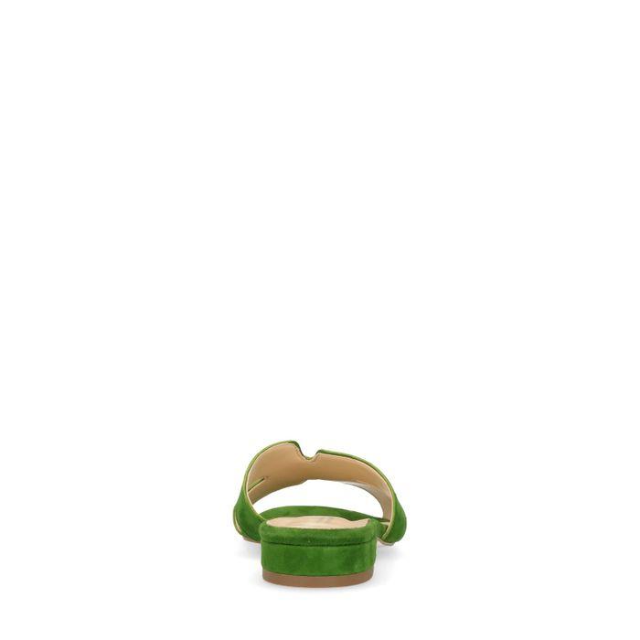 Grüne Veloursleder-Sandalen