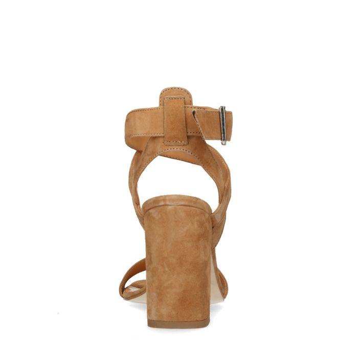 Hellbraune Sandaletten mit Blockabsatz