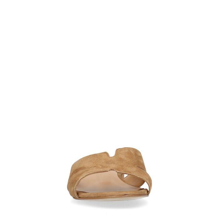 Beigefarbene Veloursleder-Sandalen