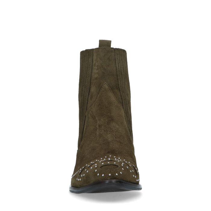 Kakifarbene Western Boots mit Details