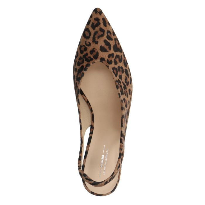 Slingpumps mit Leopardenmuster und Kitten Heel