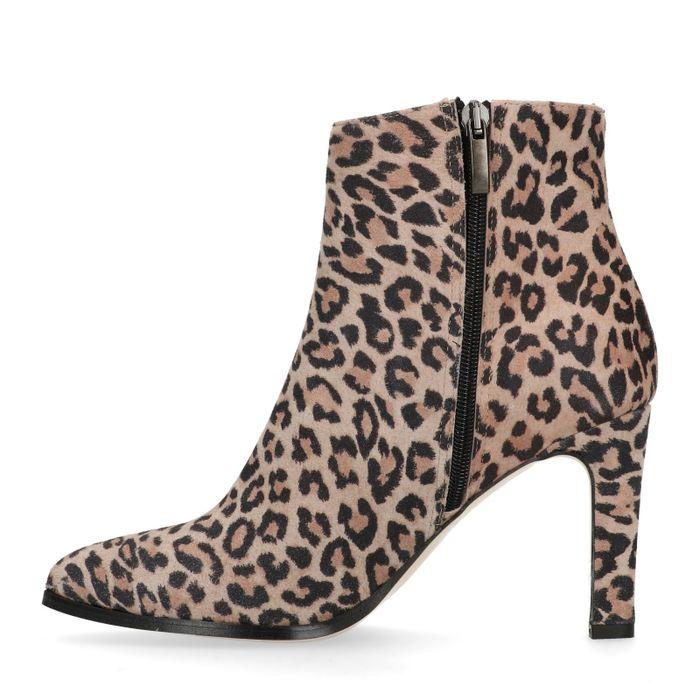 Veloursleder-Stiefeletten mit Leopardenmuster