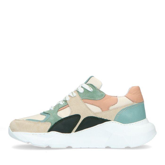 Mehrfarbige Veloursleder-Sneaker