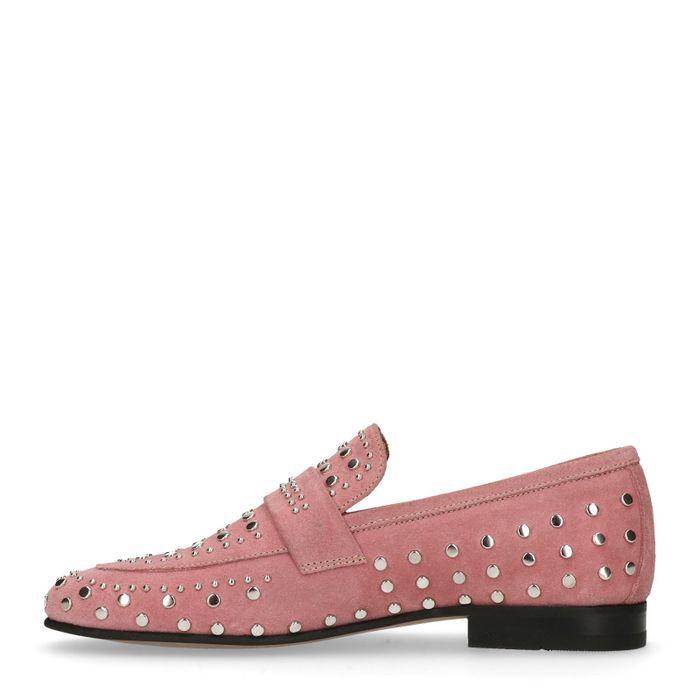 Roséfarbene Loafer mit Nieten