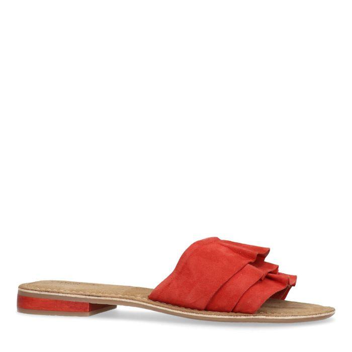 Rote Veloursleder-Sandalen