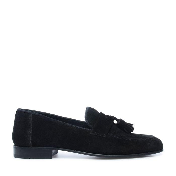 Schwarze Loafer mit Tasseln