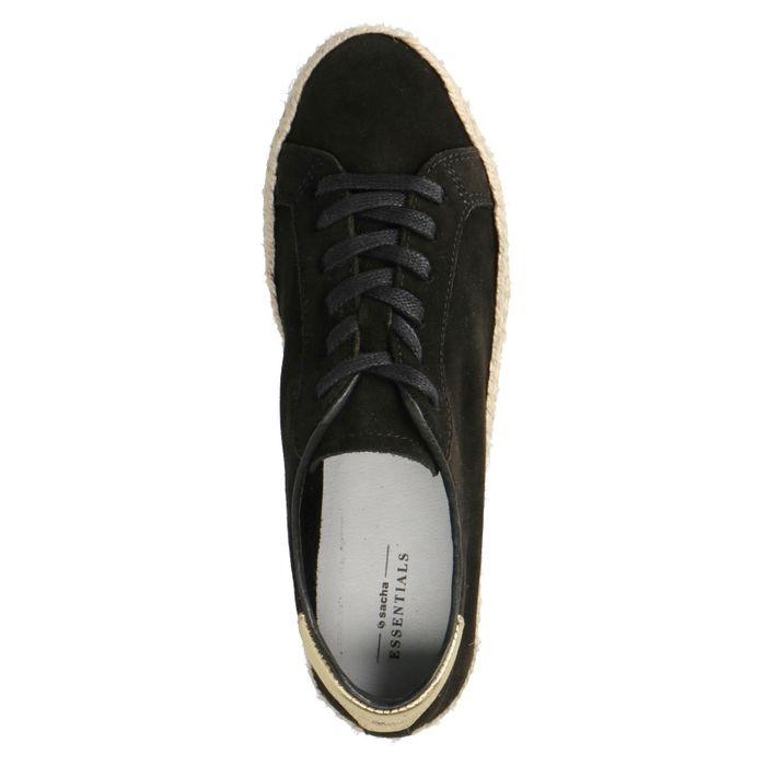 Schwarze Sneaker mit Jutesohle