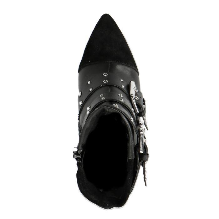 Schwarze Absatz-Stiefeletten mit Schnallen