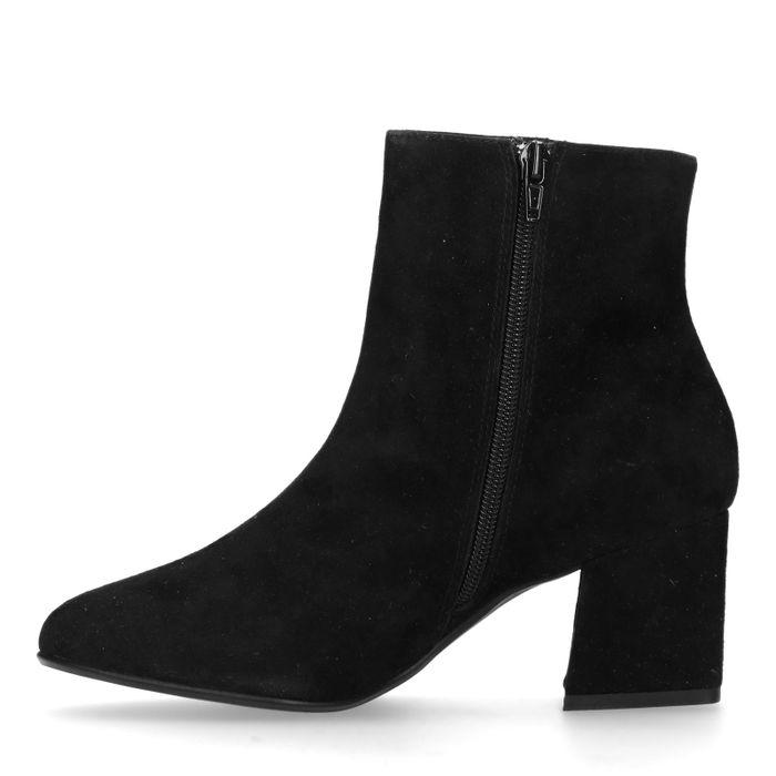 Schwarze Veloursleder-Stiefeletten mit Blockabsatz