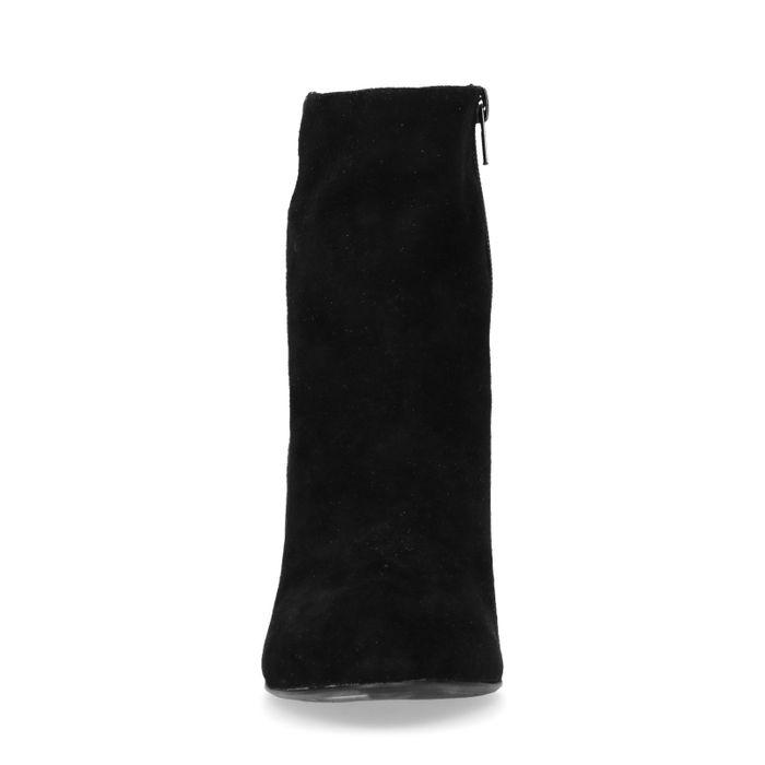 Schwarze Veloursleder-Stiefeletten mit Absatz