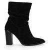 Kurze schwarze Veloursleder-Stiefel mit Absatz