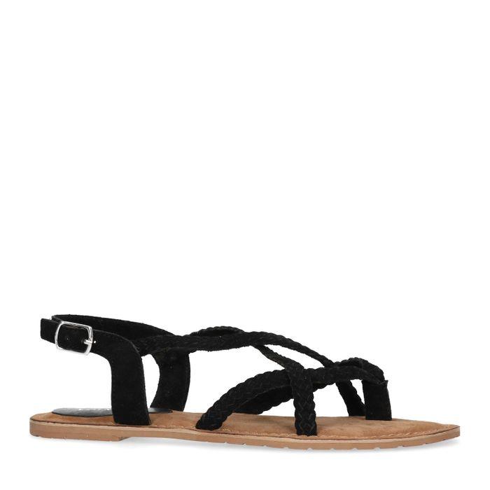 Schwarze Sandalen mit geflochtenen Riemchen