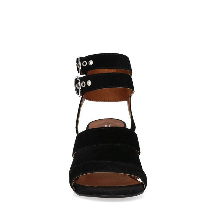 Schwarze Veloursleder-Sandaletten mit Schnallen