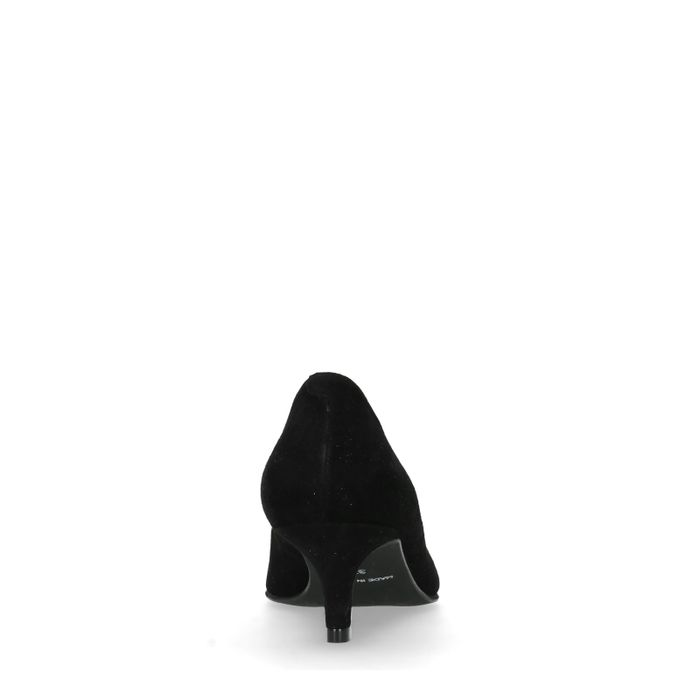 Schwarze Veloursleder-Pumps mit Kitten Heel