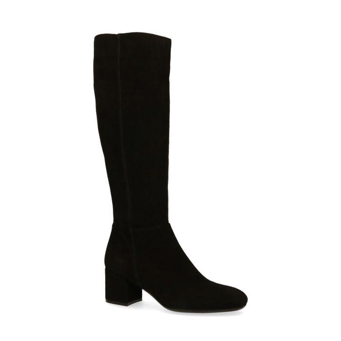 Hohe schwarze Stiefel aus Veloursleder